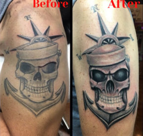 wicked tattoos navy anchor skull upper arm tattoo